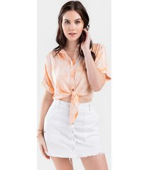 olivia button front mini skirt - white