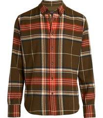 rag & bone men's fit 2 tomlin plaid cotton flannel shirt - army multi - size xs