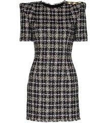 balmain check tweed mini dress - black