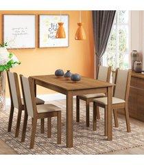 conjunto sala de jantar rosa madesa mesa com 4 cadeiras marrom - marrom - dafiti