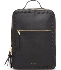 calpak kaya faux leather laptop backpack - black