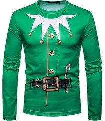 camiseta navideña para hombre impresión 3d manga larga casual cuello