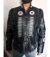 handmade western black native america leather jacket, fringe beads bones jacket