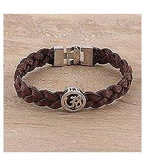 sterling silver and diamond wristband bracelet, 'glinting om' (india)