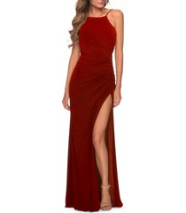 women's la femme open back jersey gown, size 6 - red