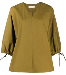 aeron flared tie sleeve blouse - green
