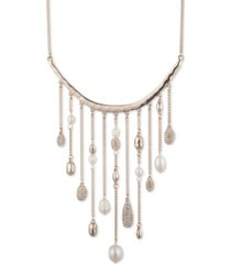 """givenchy gold-tone crystal & imitation pearl fringe frontal necklace, 16"""" + 3"""" extender"""