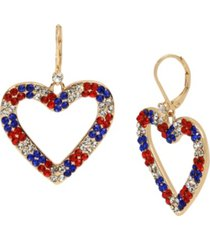 """betsey johnson heart drop earrings in gold-tone metal, 1.75"""""""
