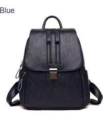 mochilas/ doble cremallera mujeres mochila bolsas de-azul