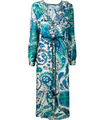 twin-set floral-print chiffon shirt dress - blue