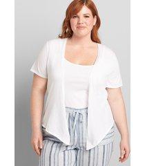lane bryant women's short-sleeve tie-front cardigan 26/28 white