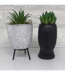 conjunto de vaso tripé de metal e vaso máscara preto
