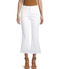 frame denim women's flare cropped stretch jeans - white - size 24 (0)