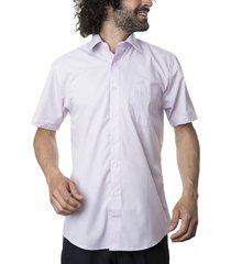 camisa lisa cuello semi italiano lila kotting