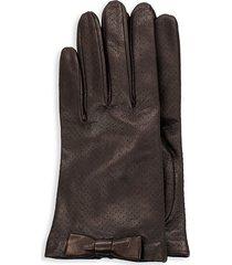 portolano women's bow-trim perforated leather gloves - teak - size 8