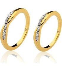 aparador de aliança em ouro 18k/750 20 pedras de zircônia de 1,25mm natália joias happy