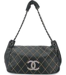 chanel pre-owned 2004/2005's diamond stitch shoulder bag - black