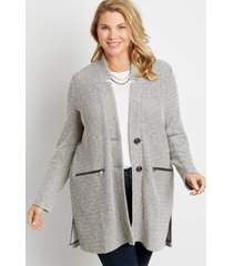 maurices plus size womens gray button front cardigan coat