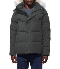 canada goose wyndham slim fit genuine coyote fur trim down jacket, size medium in graphite at nordstrom