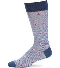 saks fifth avenue men's anchor-print mid-calf socks - navy