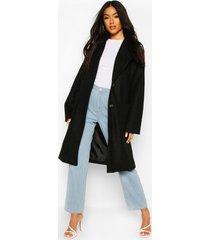 brushed wool look oversized longline coat, black
