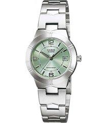 reloj casio ltp-1241d-3a analogo 100% original-verde