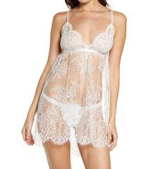 women's monique lhuillier x hanky panky cherie babydoll chemise & thong set, size small - white
