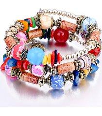 boho braccialetto a multistrati con perline di pietre colorate e di legno regalo per lei