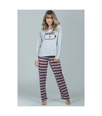 pijama feminino longo serra e mar modas inverno mommy cinza