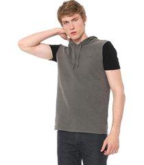 colete calvin klein jeans capuz silk logo grafite - kanui