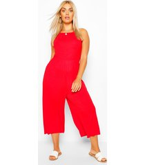 plus strappy jersey jumpsuit, red