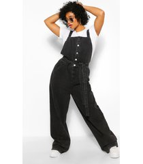 plus denim belted jumpsuit dungaree, washed black
