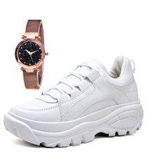 tênis sapatênis casual plataforma city com relógio gold feminino juilli 728li branco