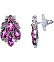 2028 silver-tone purple cluster post earrings