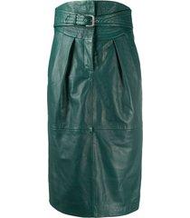 alberta ferretti belted leather midi skirt - green