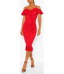 bodycon midi dress, red