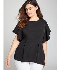 lane bryant women's flutter-sleeve high-low peplum top 24 black