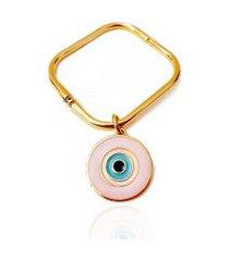 bracelete pulseiraria chic quadrado olho grego rosa