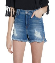 guess claudia high-rise frayed denim shorts