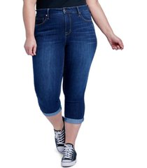 plus size high rise skinny crop jeans