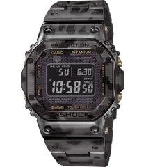 g-shock men's solar digital black camouflage titanium bracelet watch 43.2mm