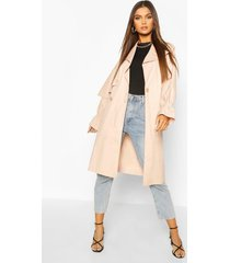 ruched sleeve belted trench coat, blush