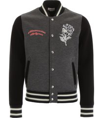 alexander mcqueen varsity jacket with skull embroidery