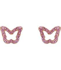 orecchini a lobo farfalla in argento rosato e zirconi rosa per donna
