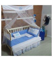 kit berço azul para menino com bordado de príncipe 9 peças