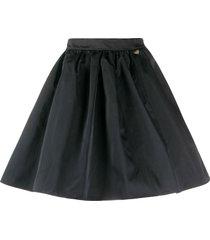 twin-set heart-charm pleated mini skirt - black