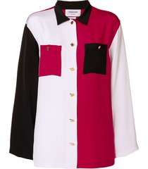 thom browne polo collar pajama shirt - multicolour