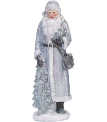 trans pac small silver christmas sweater santa figurine - set of 3