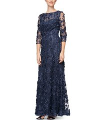 alex evenings 3d-floral gown, created for macy's