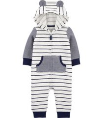 carter's baby boy striped zip-up fleece jumpsuit